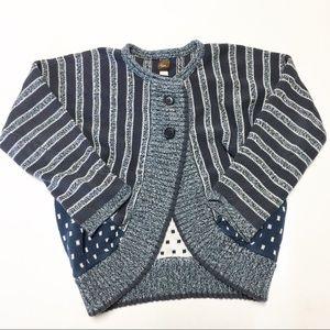Tea Collection Stripes Polka Dot Blue Cardigan L